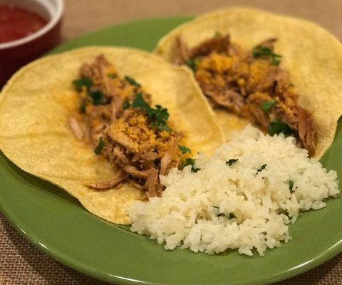 Slow Cooker Chicken Carnitas with Chedz Topping - Courtesy of Susan Hall